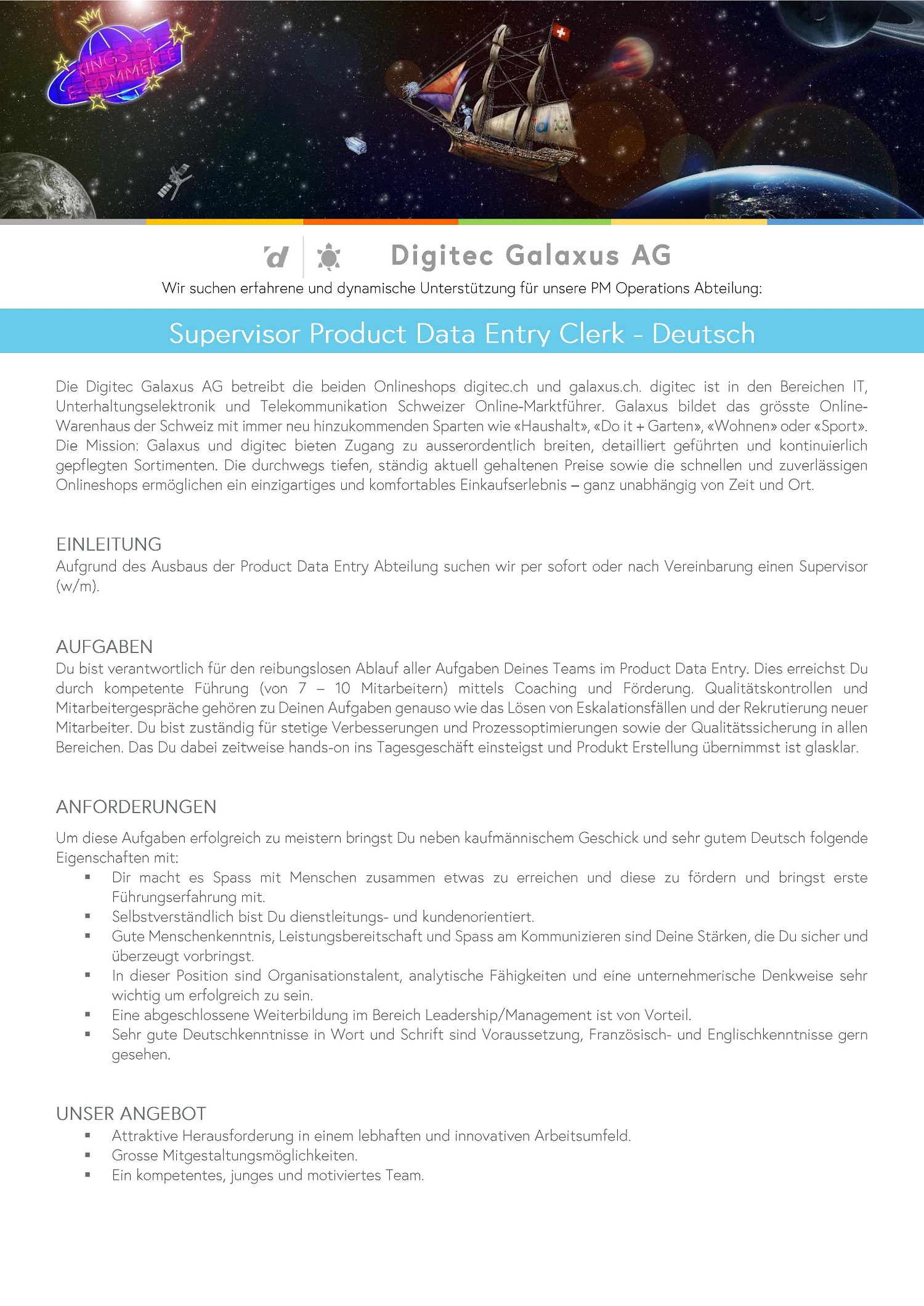 Supervisor Product Data Entry - Deutsch