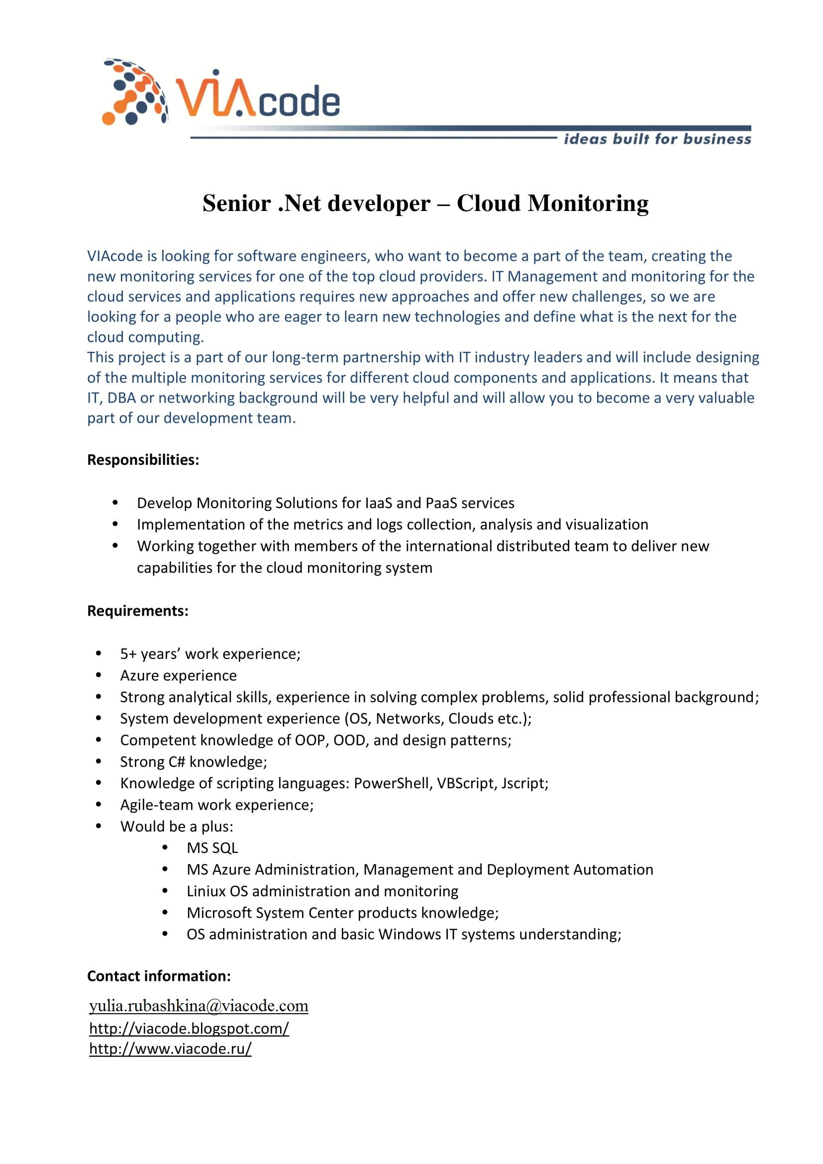 Senior .Net developer – Cloud Monitoring