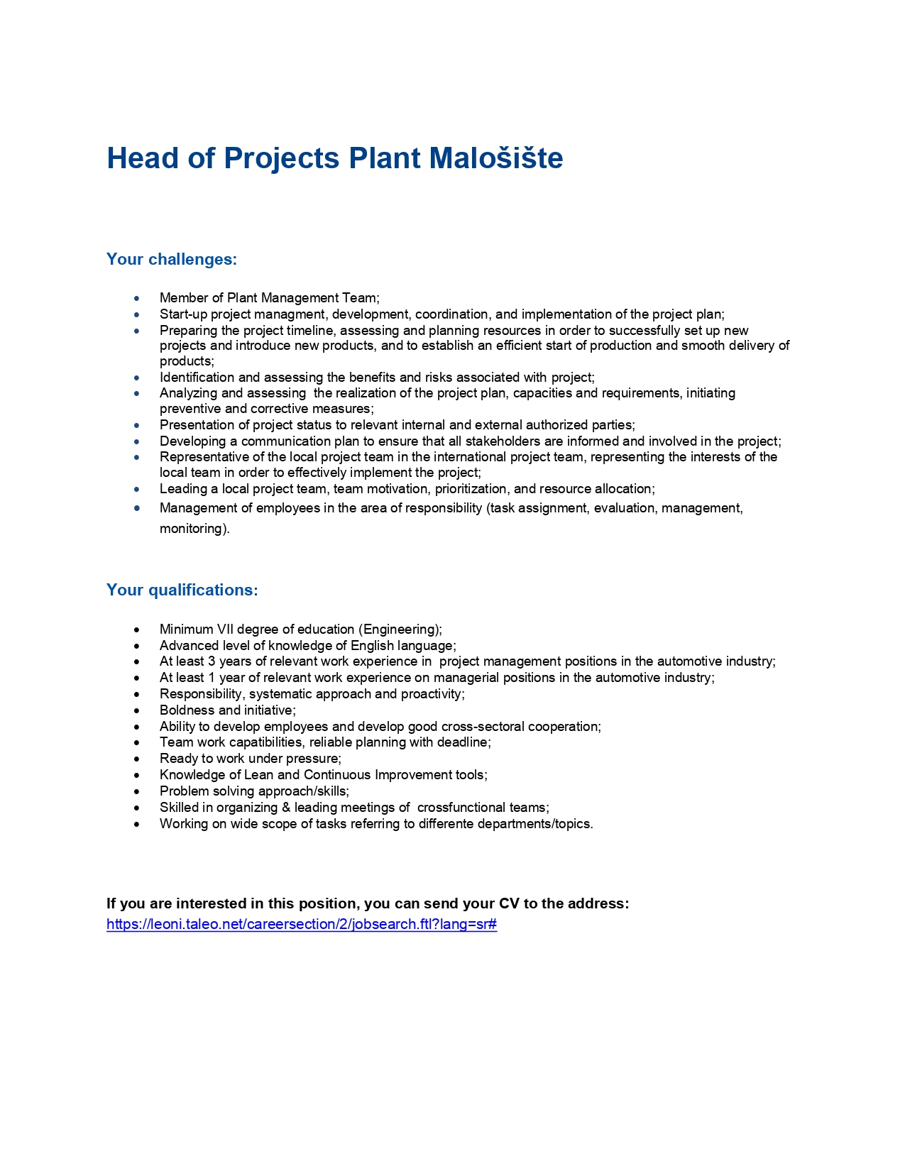Head of Project Plant Malošište