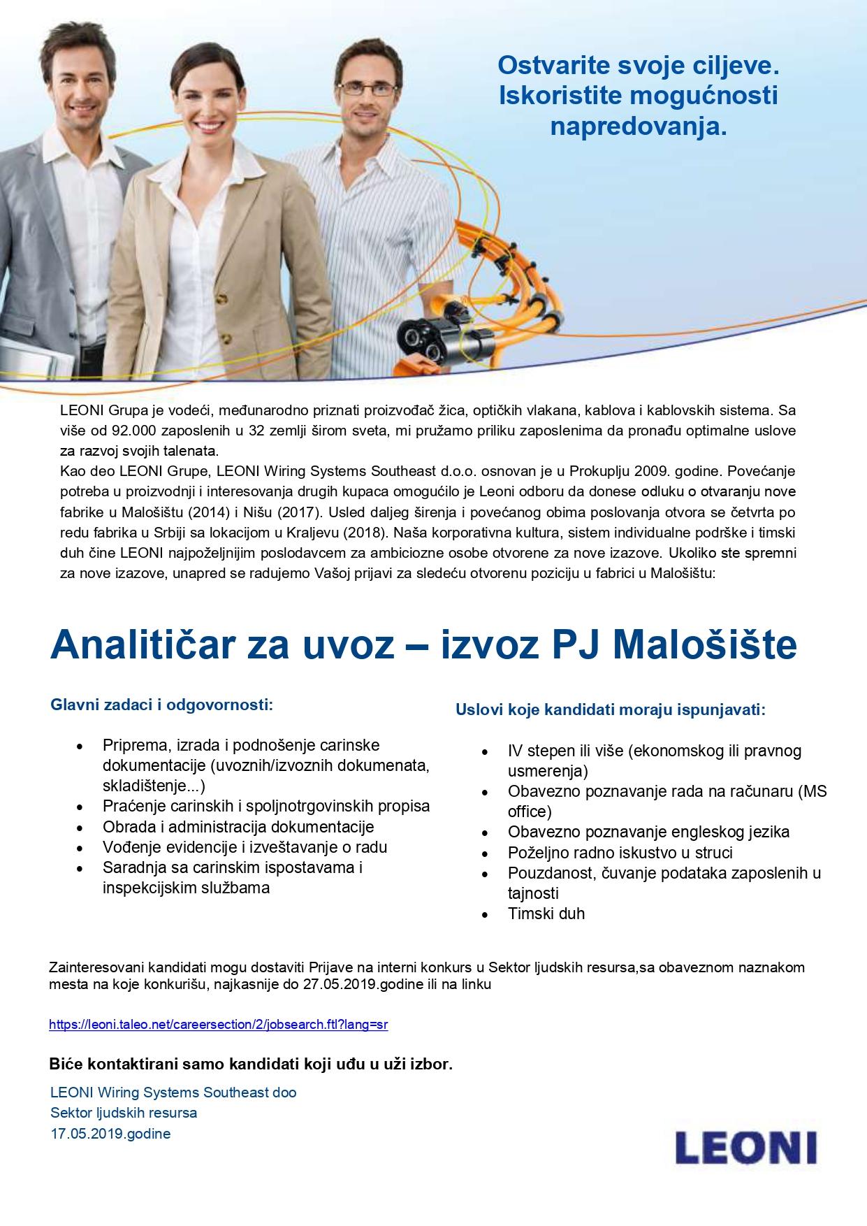 Analitičar za uvoz – izvoz PJ Malošište