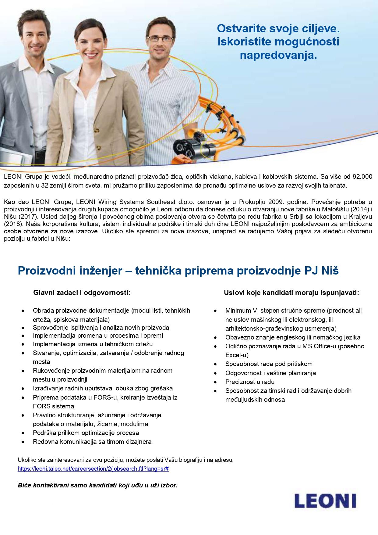 Proizvodni inženjer – tehnička priprema proizvodnje PJ Niš