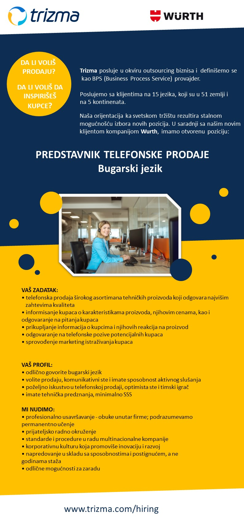 Predstavnik telefonske prodaje za Bugarski jezik