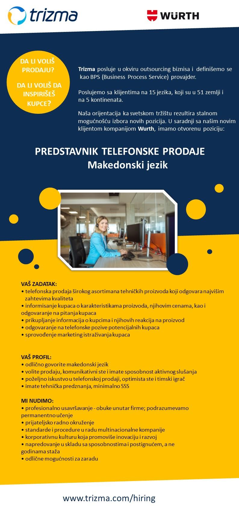 Predstavnik telefonske prodaje za Makedonski jezik