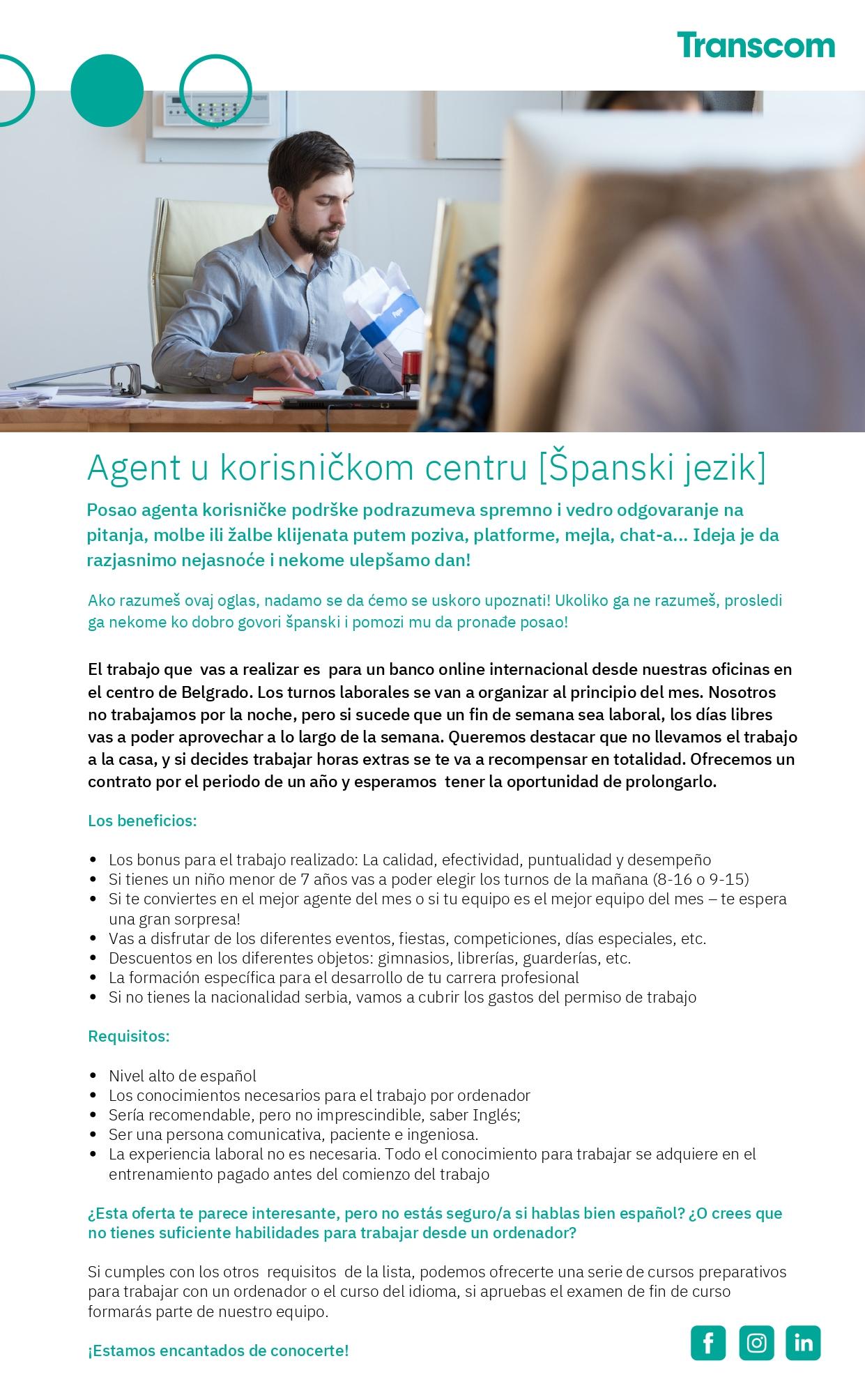 Agent u korisničkom centru - Španski jezik