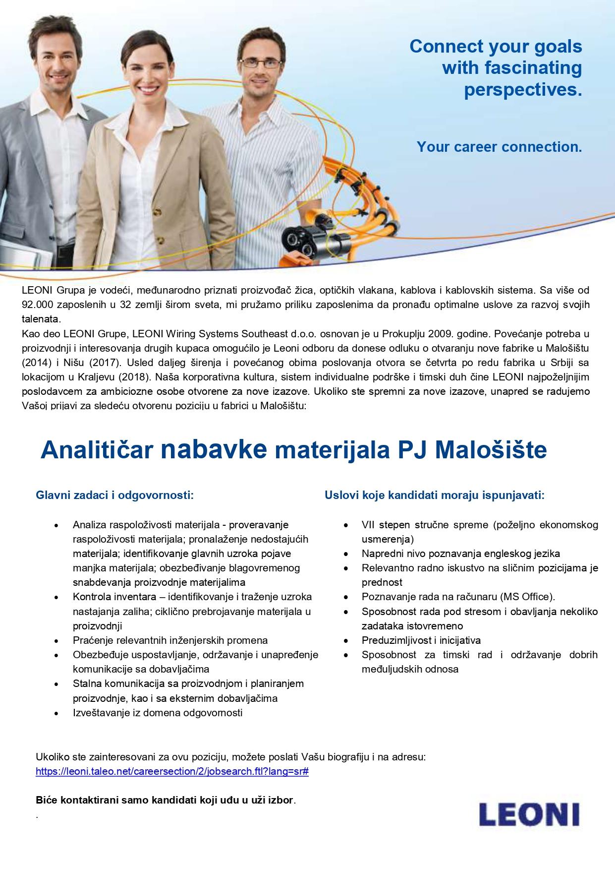 Analitičar nabavke materijala PJ Malošište