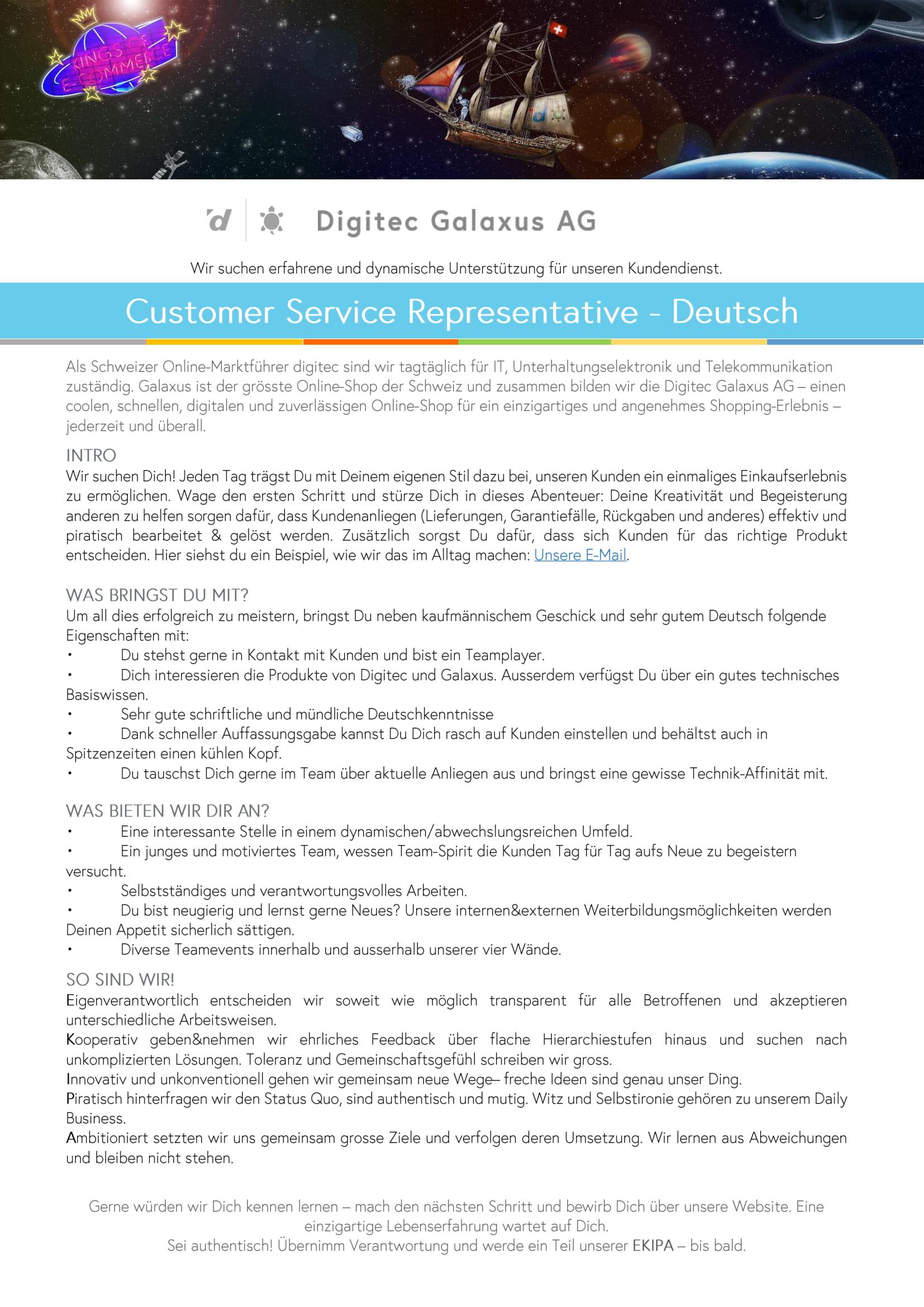 Customer Service Representative-Deutsch