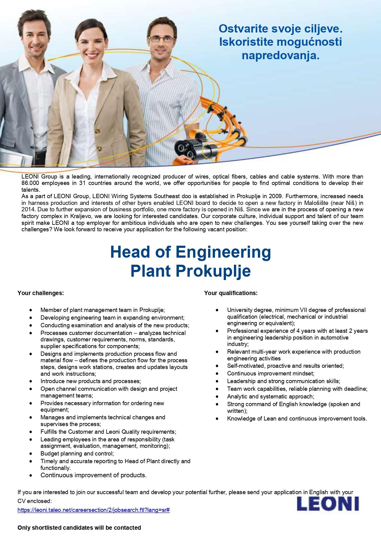 Head of Engineering Plant Prokuplje