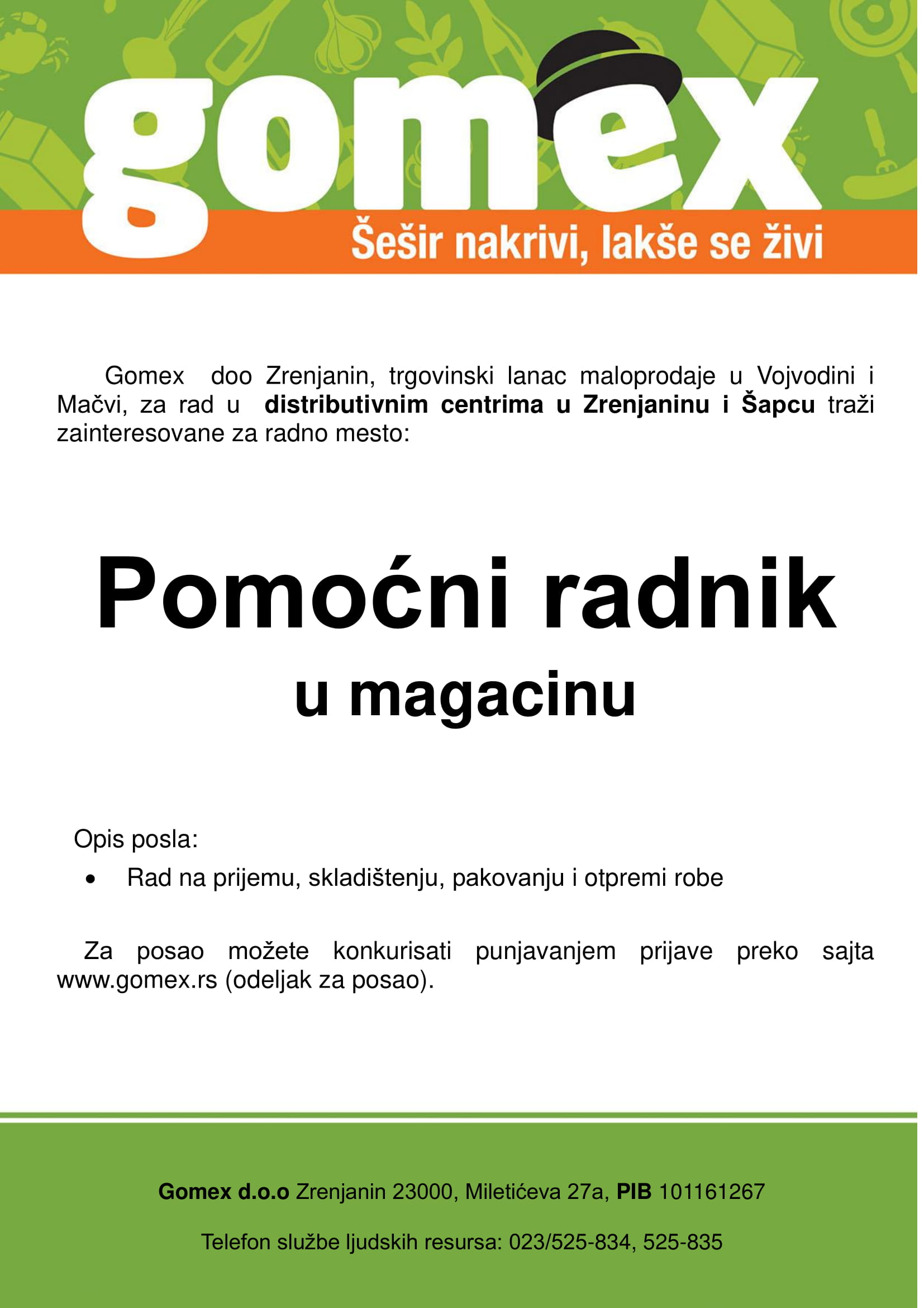 Pomoćni radnik u magacinu (m/ž)