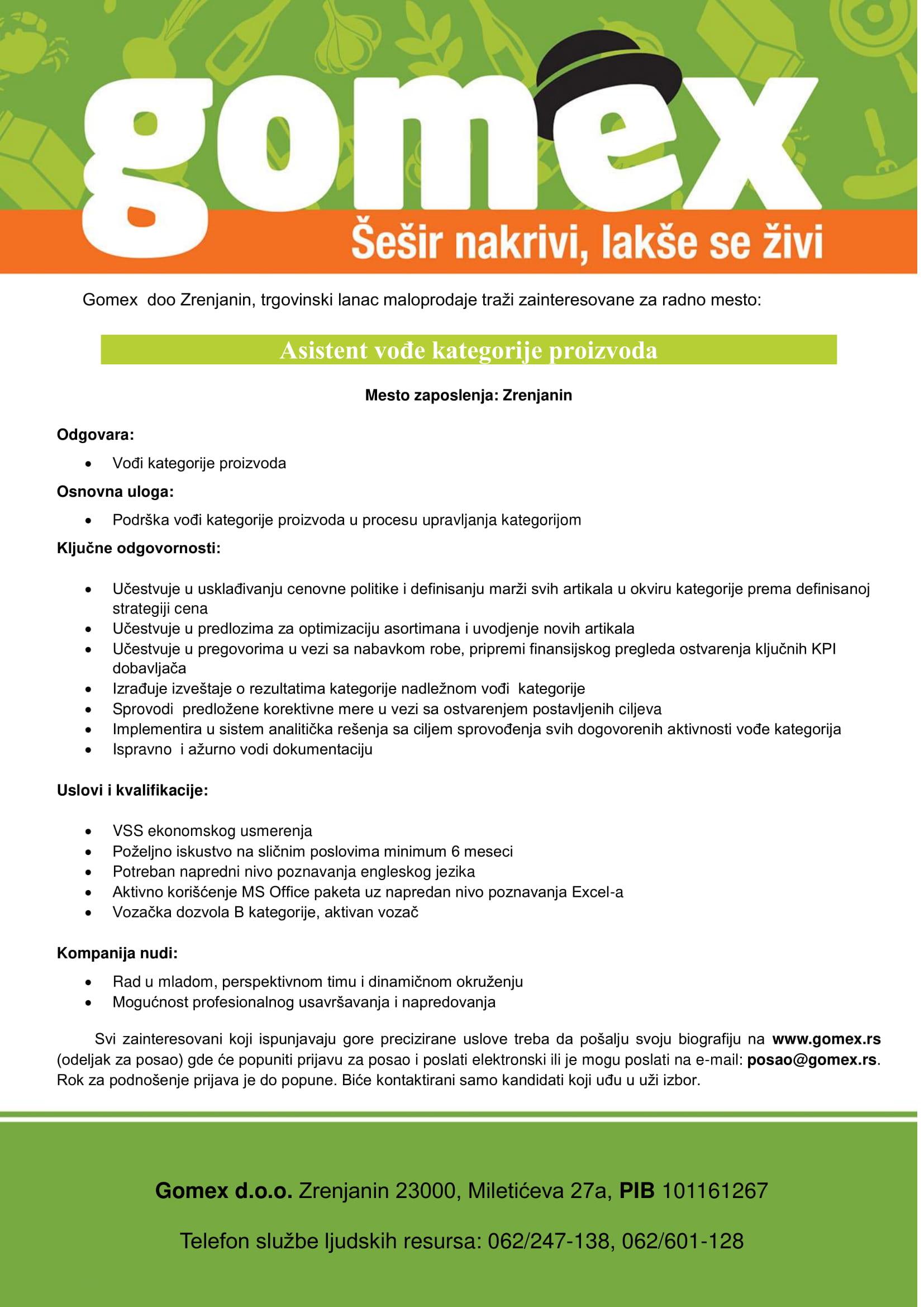 Asistent vođe kategorije proizvoda (m/ž)