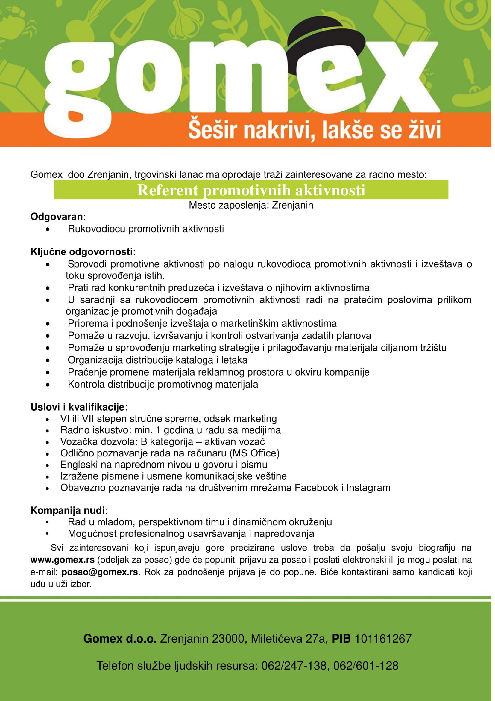 Referent promotivnih aktivnosti (m/ž)
