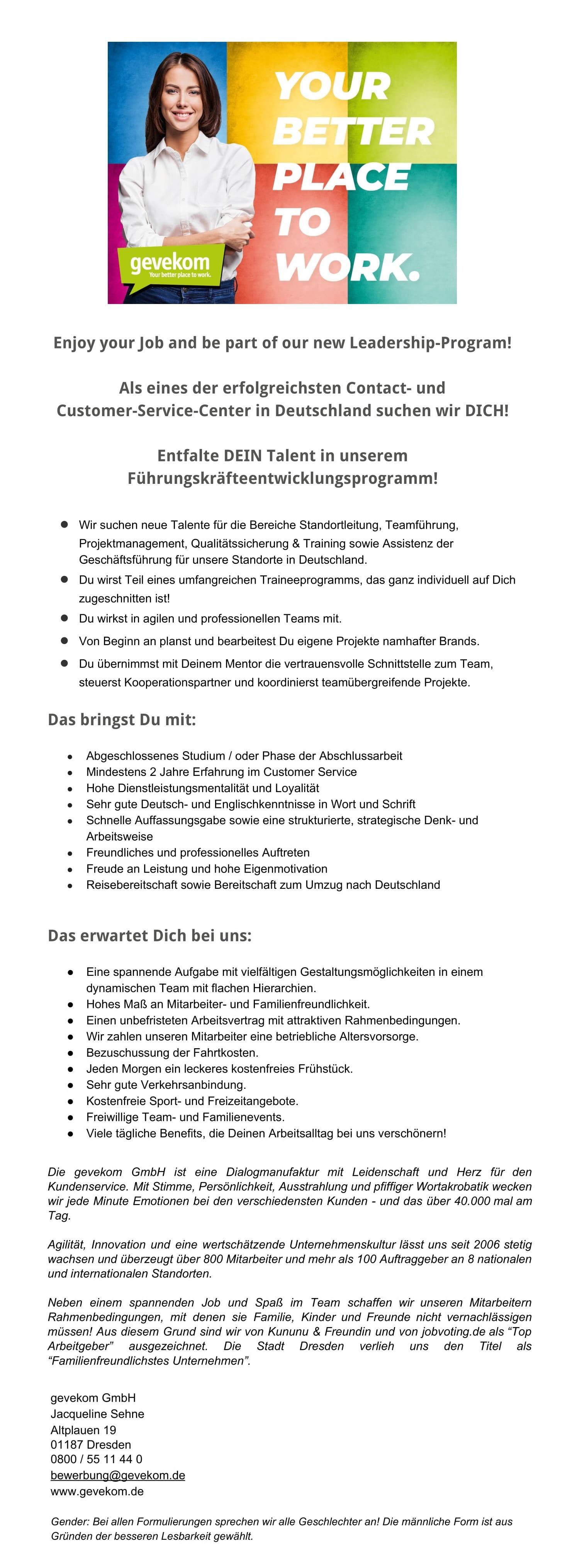 Führungskraft in Deutschland (m/w/d)
