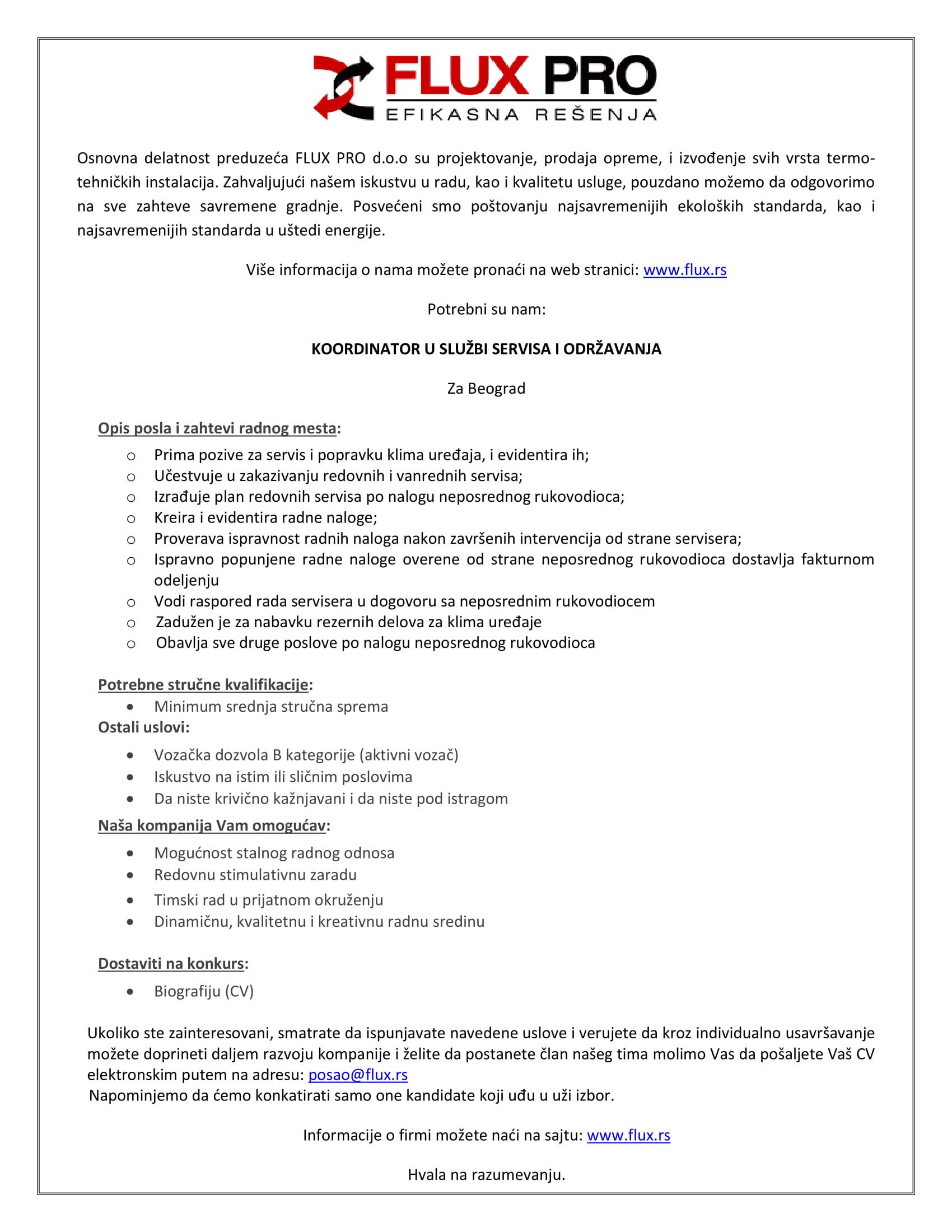 Koordinator u službi servisa i održavanja (m/ž)