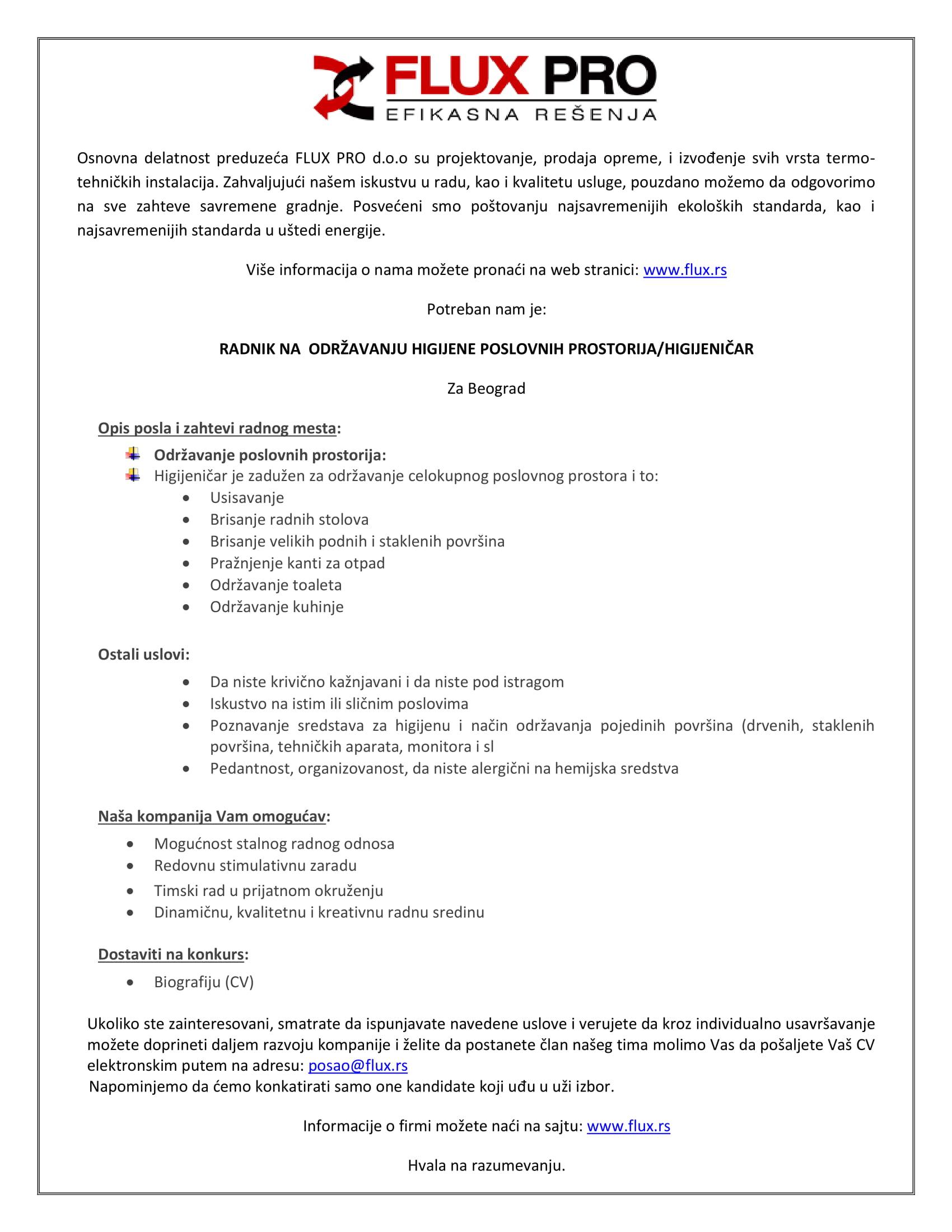 Radnik na održavanju higijene poslovnih prostorija / Higijeničar (m/ž)