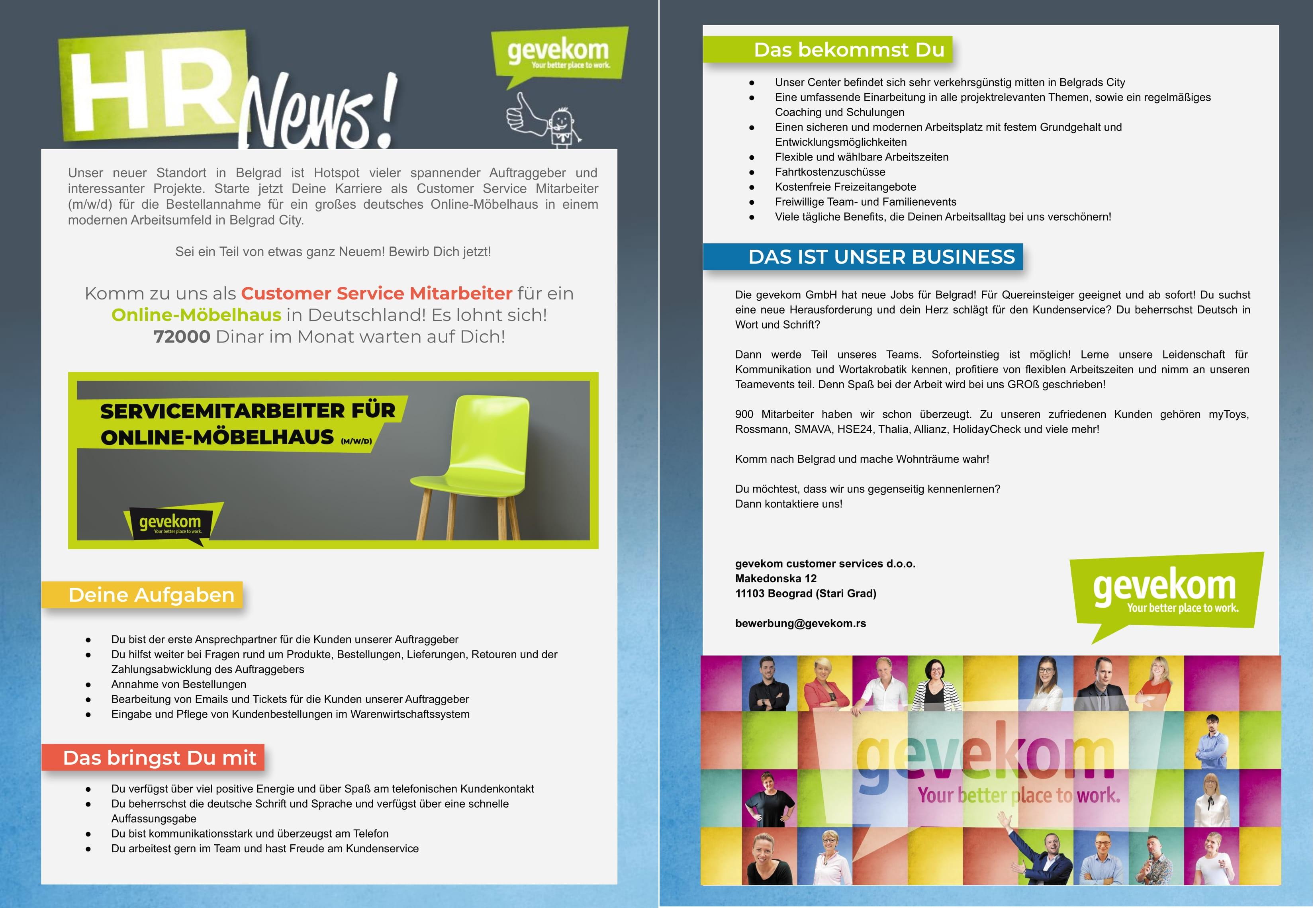 Servicemitarbeiter für online-möbelhaus (m/w/d)