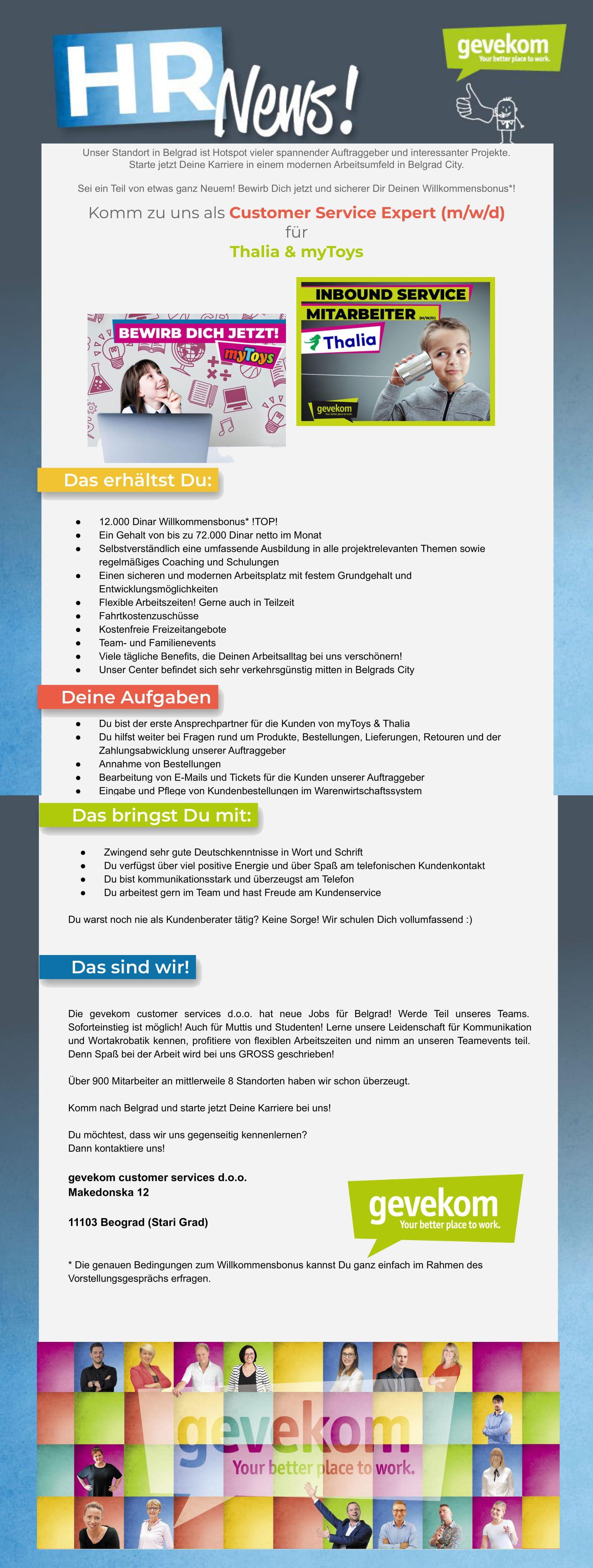 Customer Service Expert für Thalia und mytoys - deutschsprachig