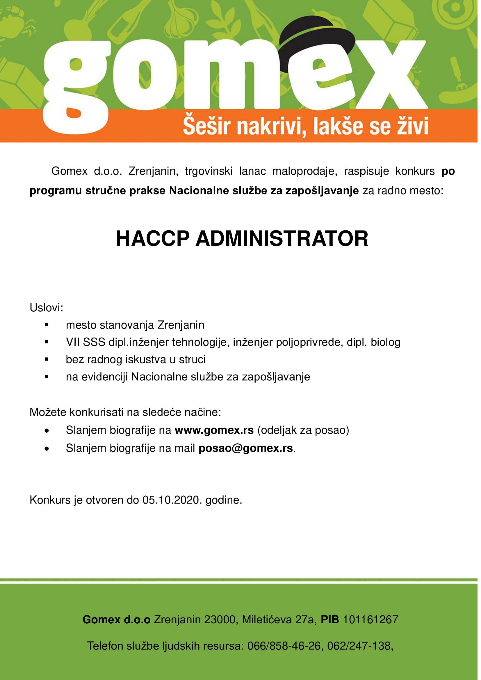 HACCP Administrator (m/ž)