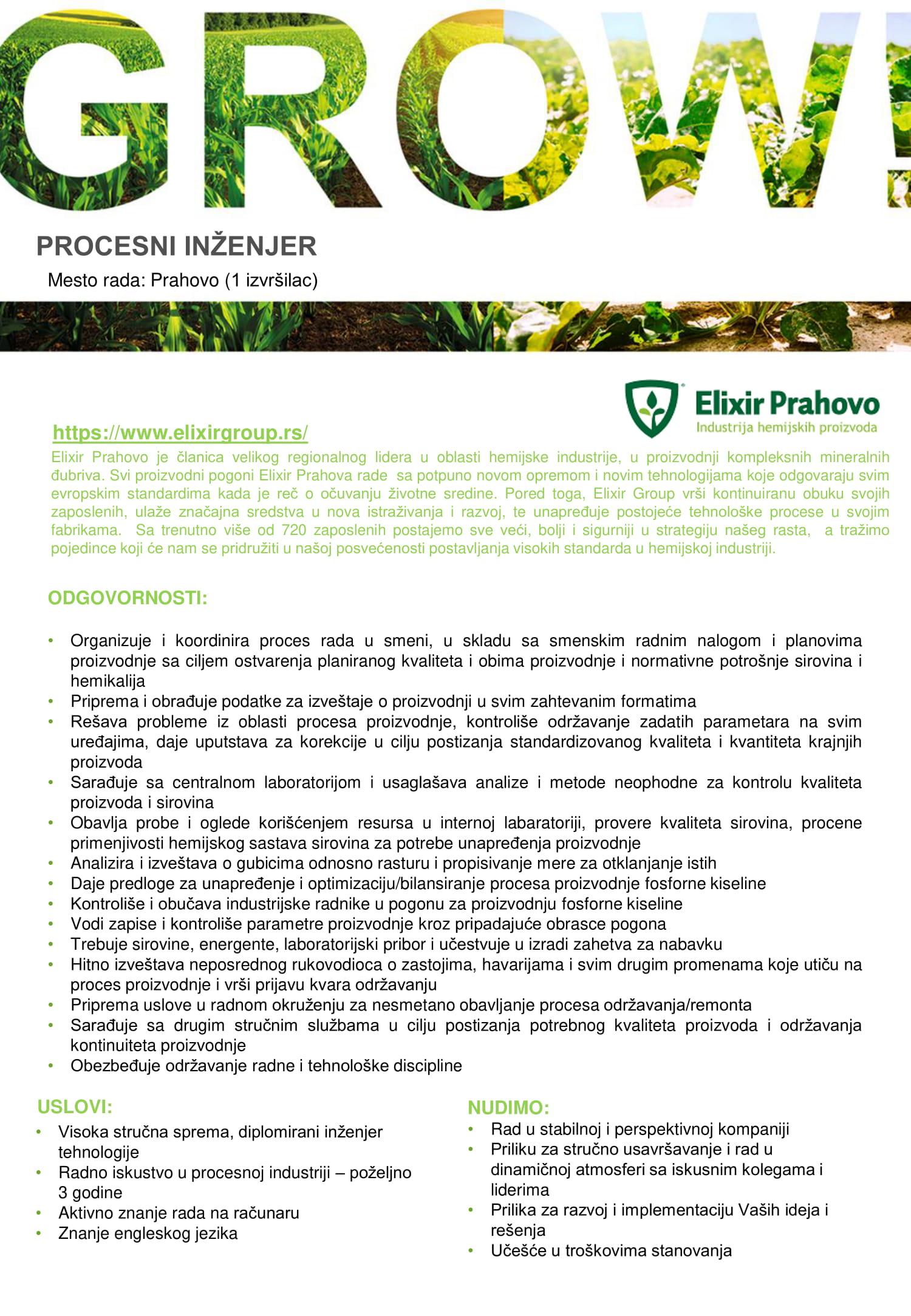 Procesni inženjer u pogonu za proizvodnju fosforne kiseline