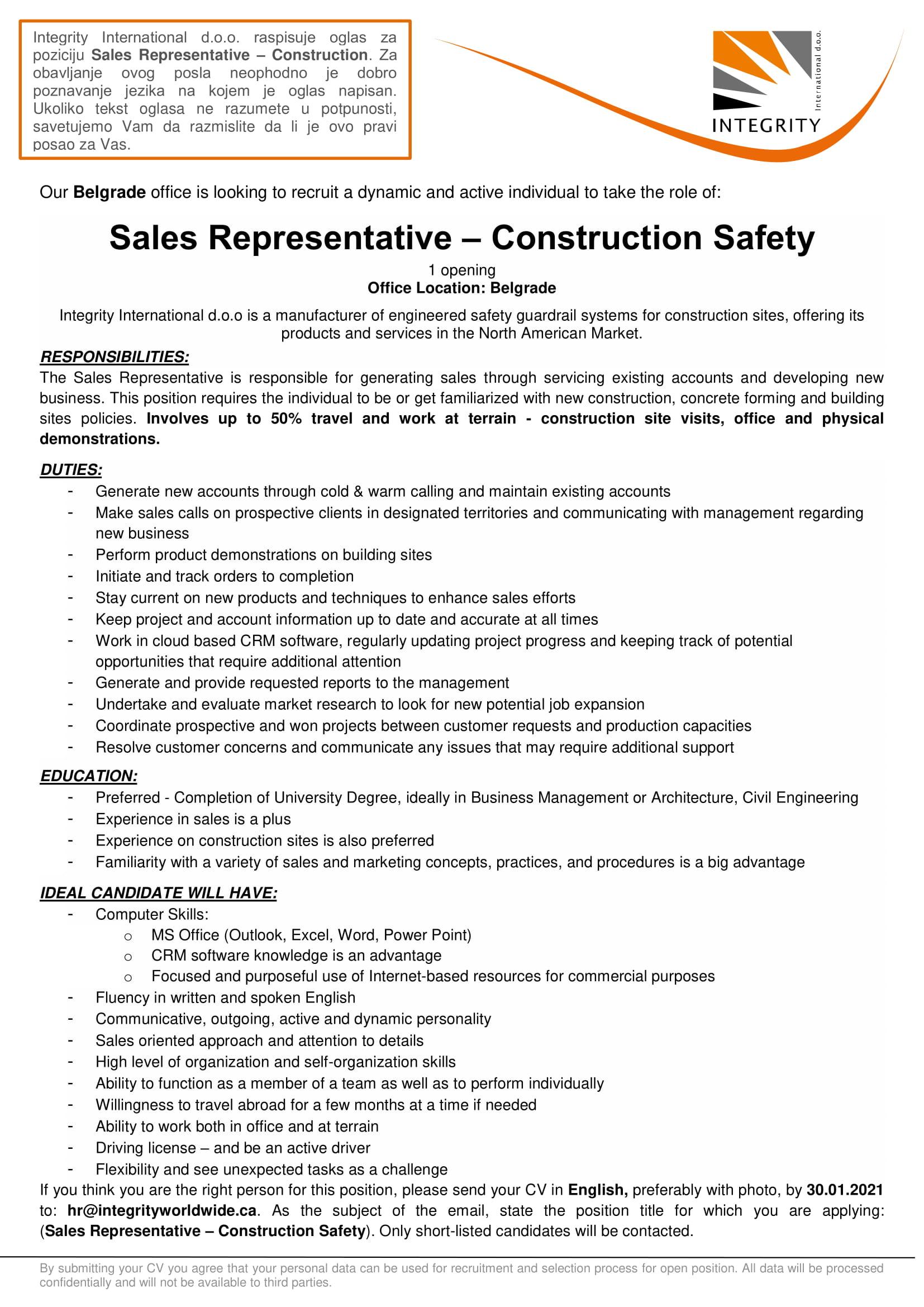Sales Representative – Construction Safety
