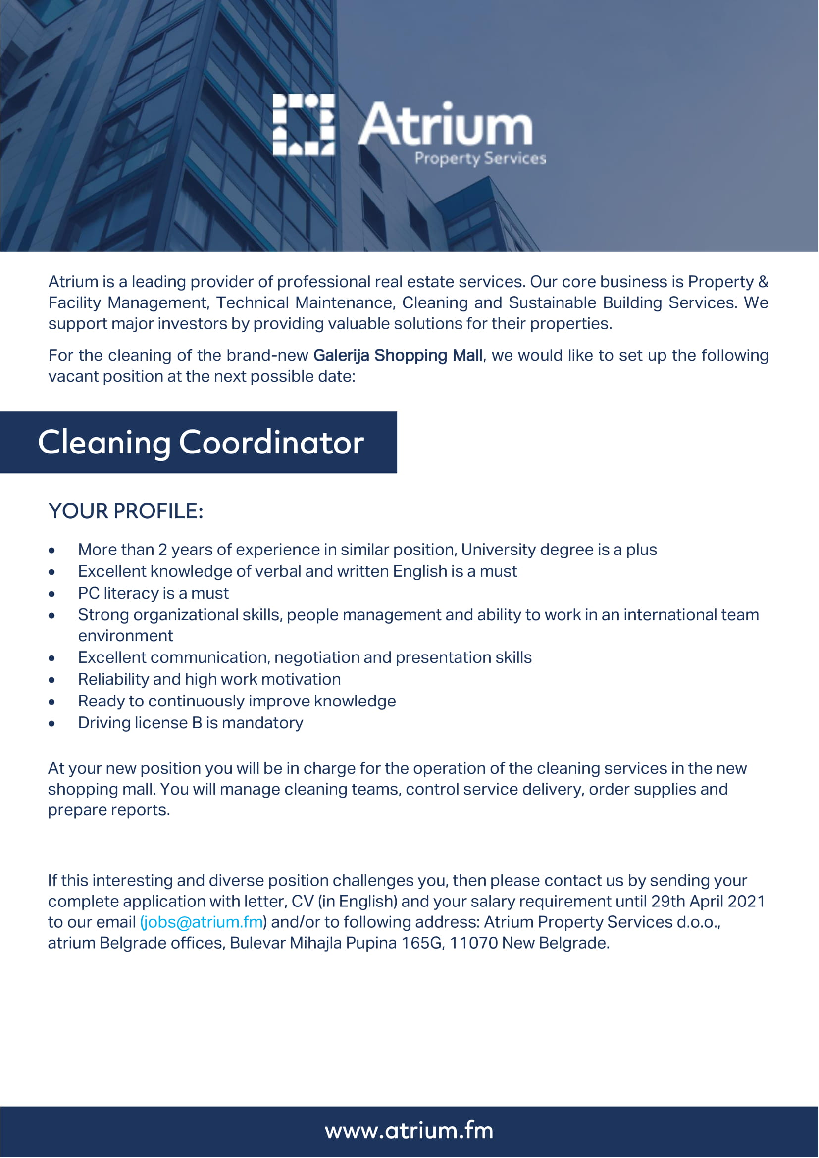 Cleaning coordinator