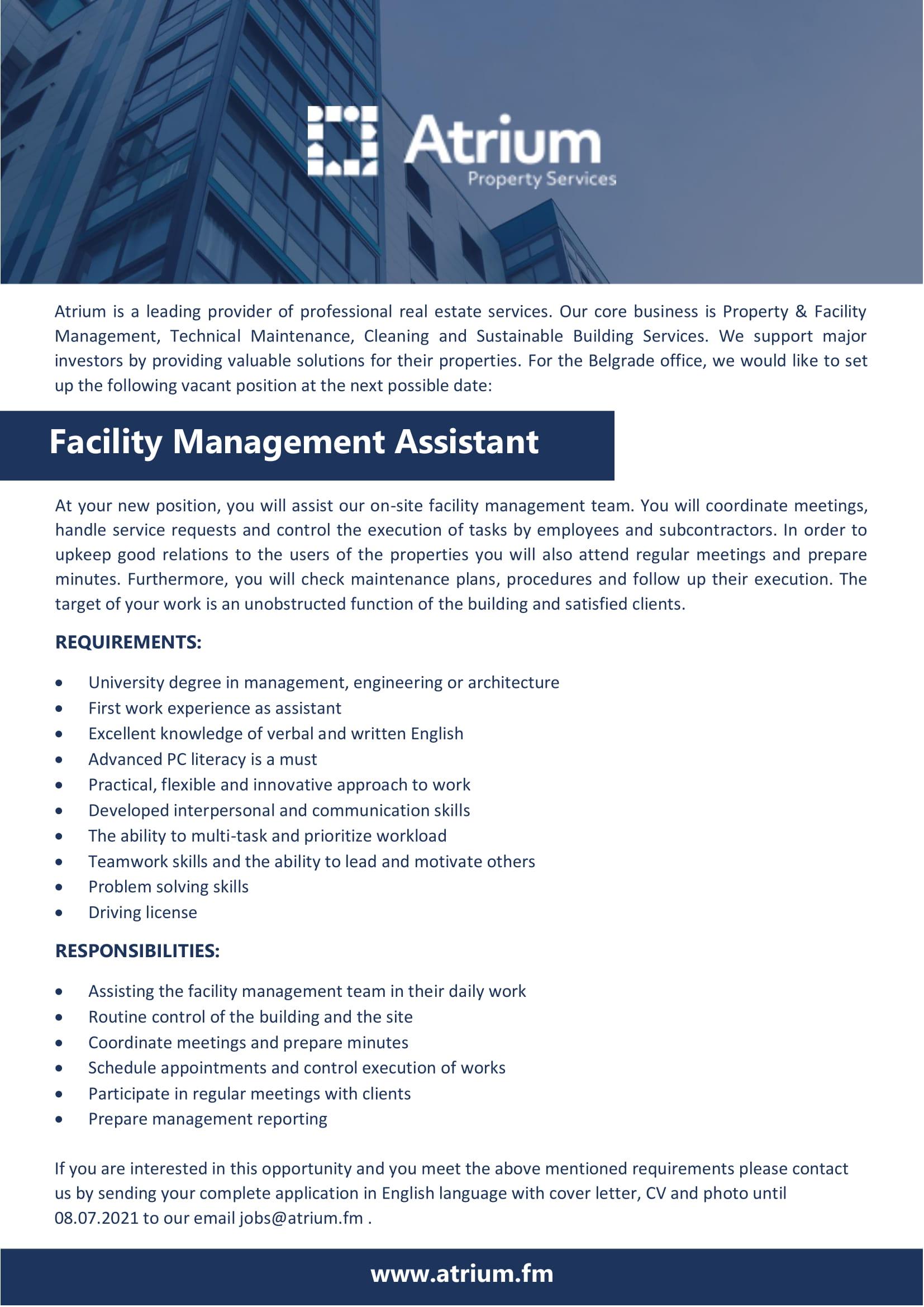 Facility Management Assistant
