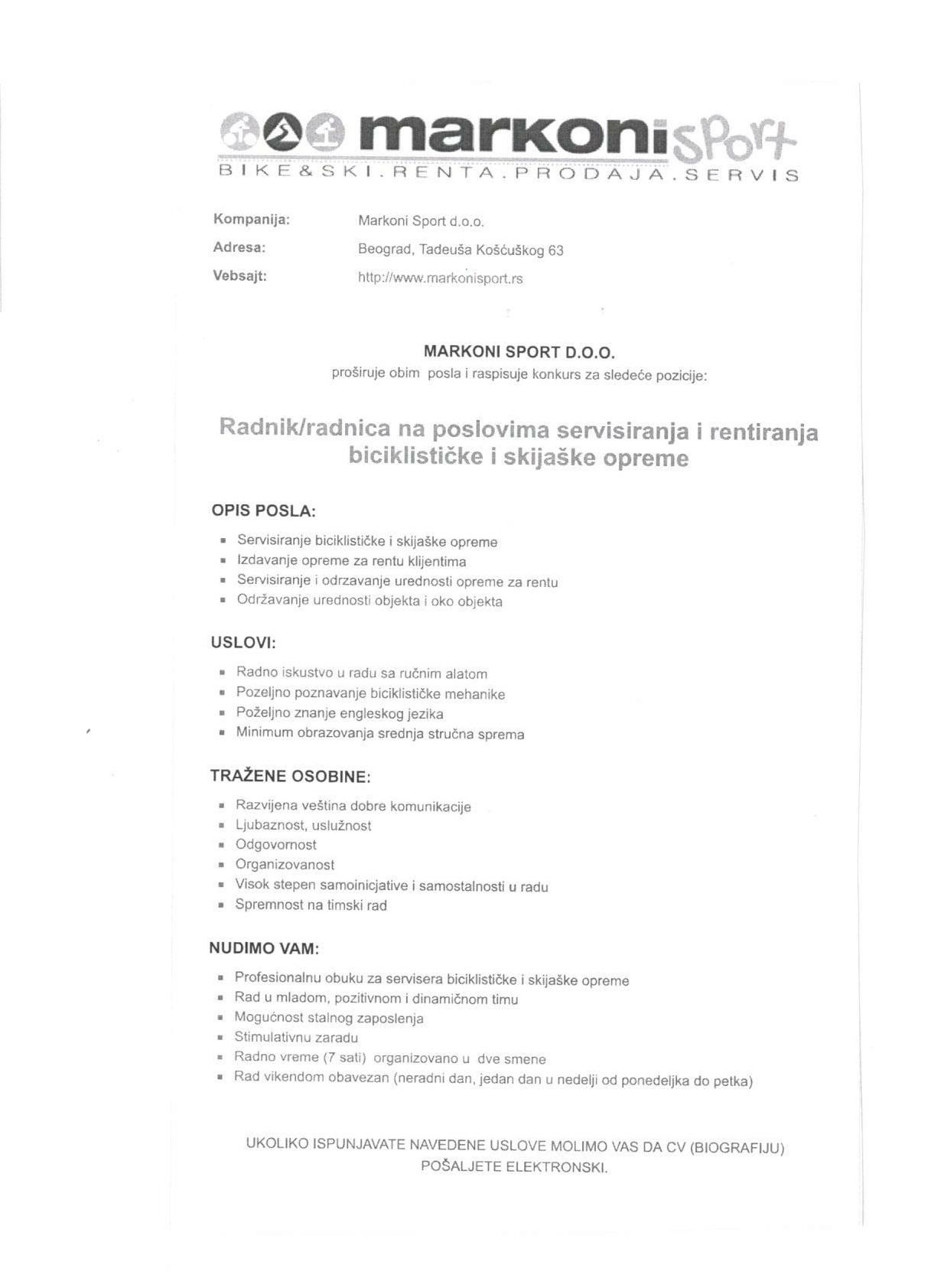 Radnik/ca na poslovima servisiranja i rentiranja biciklističke i skijaške opreme