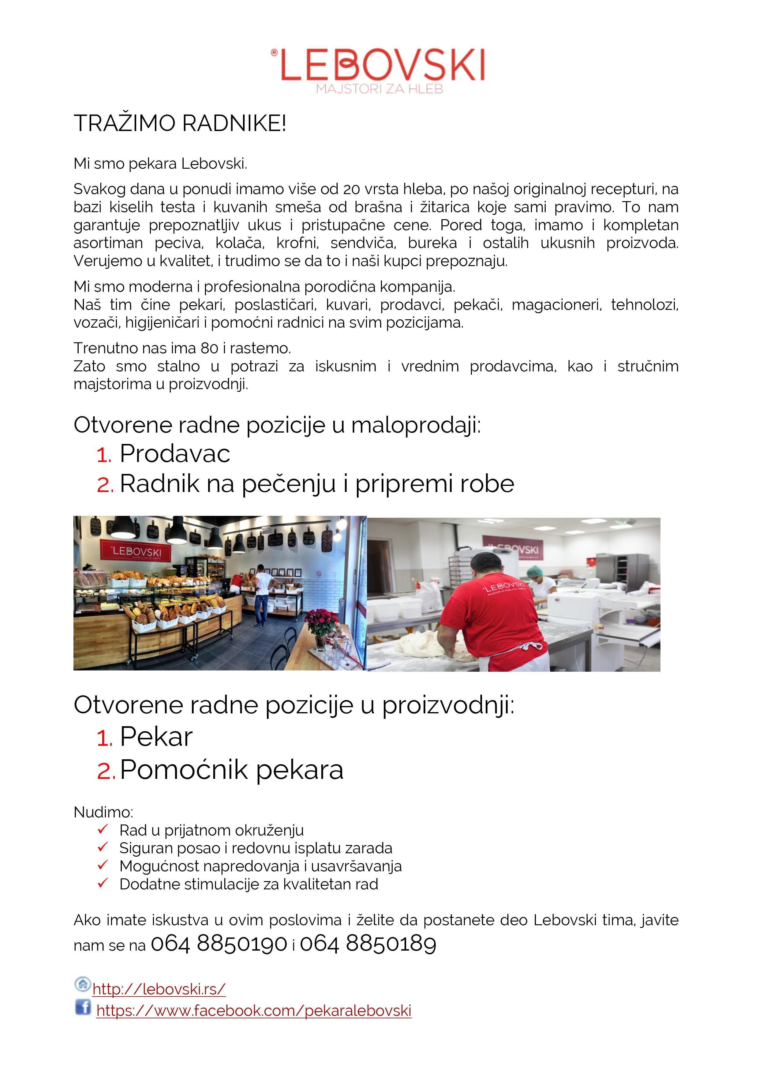 Prodavac / Radnik na pečenju i pripremi robe / Pekar / Pomoćnik pekara m/ž