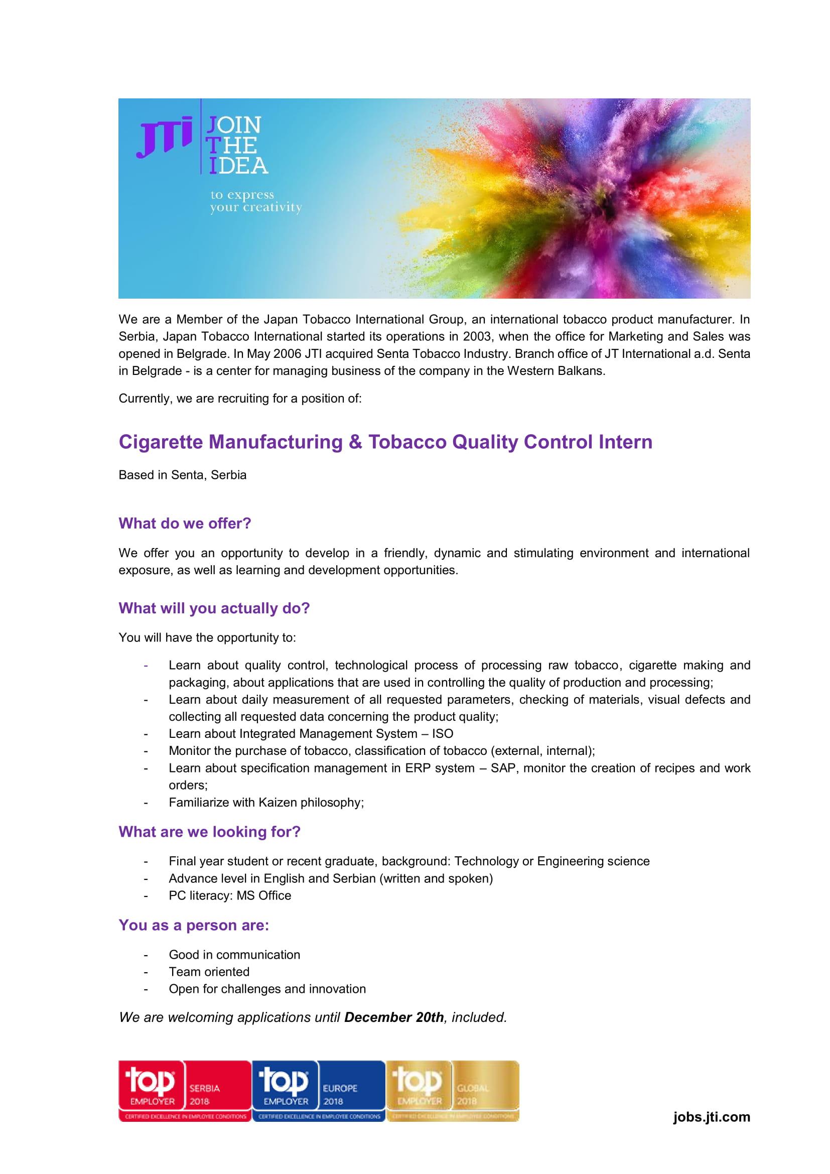 Cigarette Manufacturing & Tobacco Quality Control Intern
