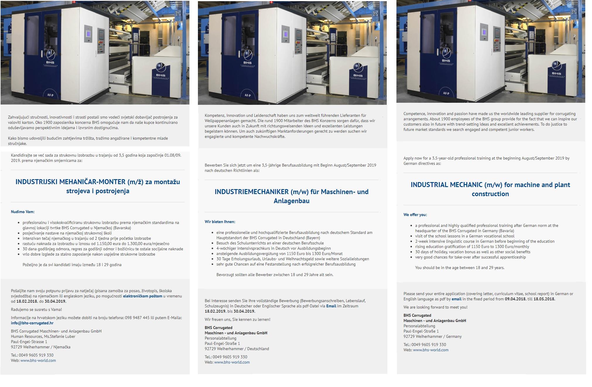 Industrijski mehaničar - Monter (m/ž) za montažu strojeva i postrojenja