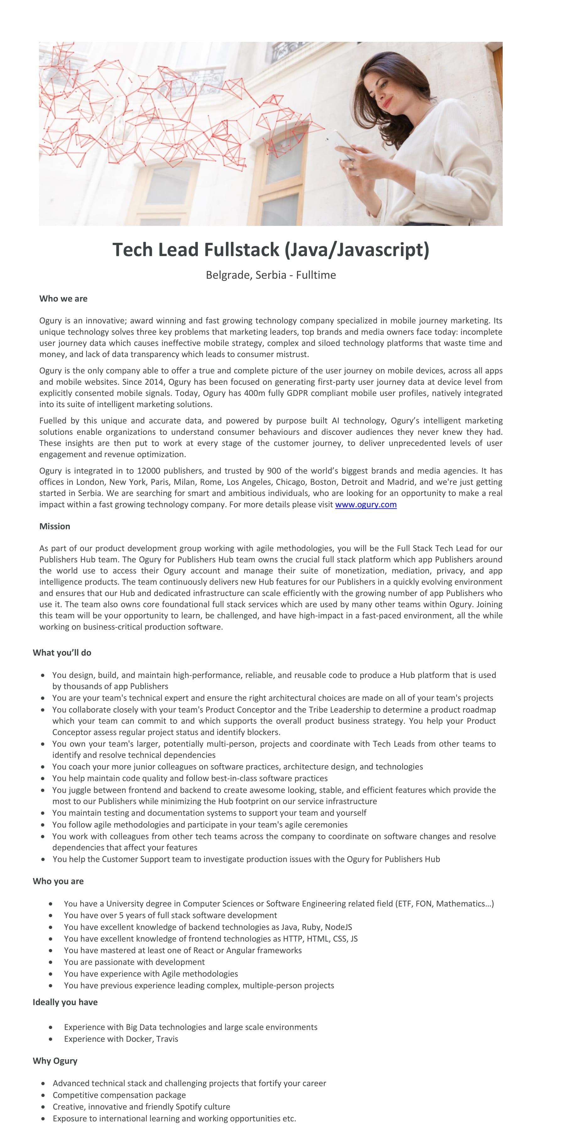 Tech Lead Fullstack (Java/Javascript)