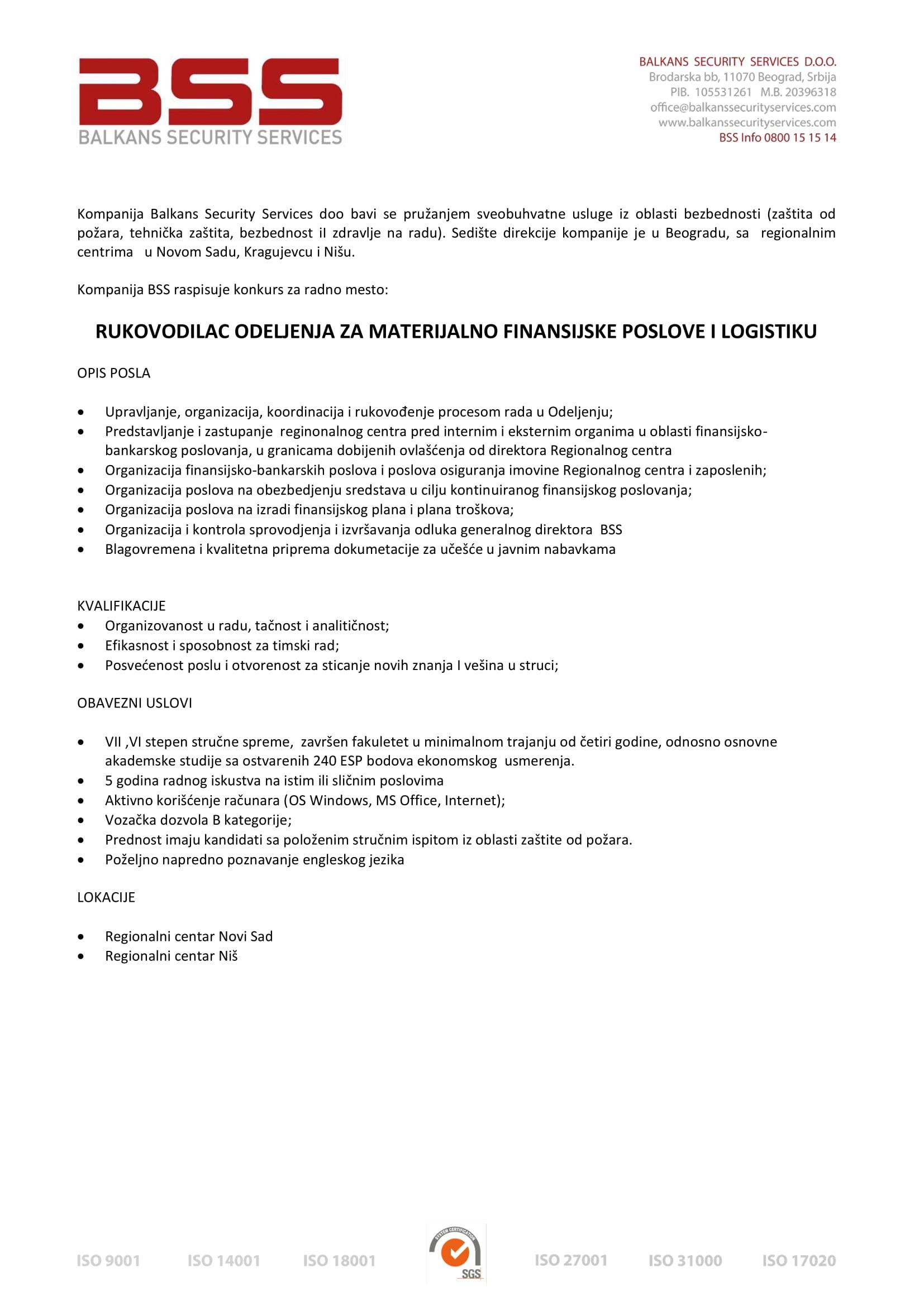 Rukovodilac odeljenja za materijalno finansijske poslove i logistiku
