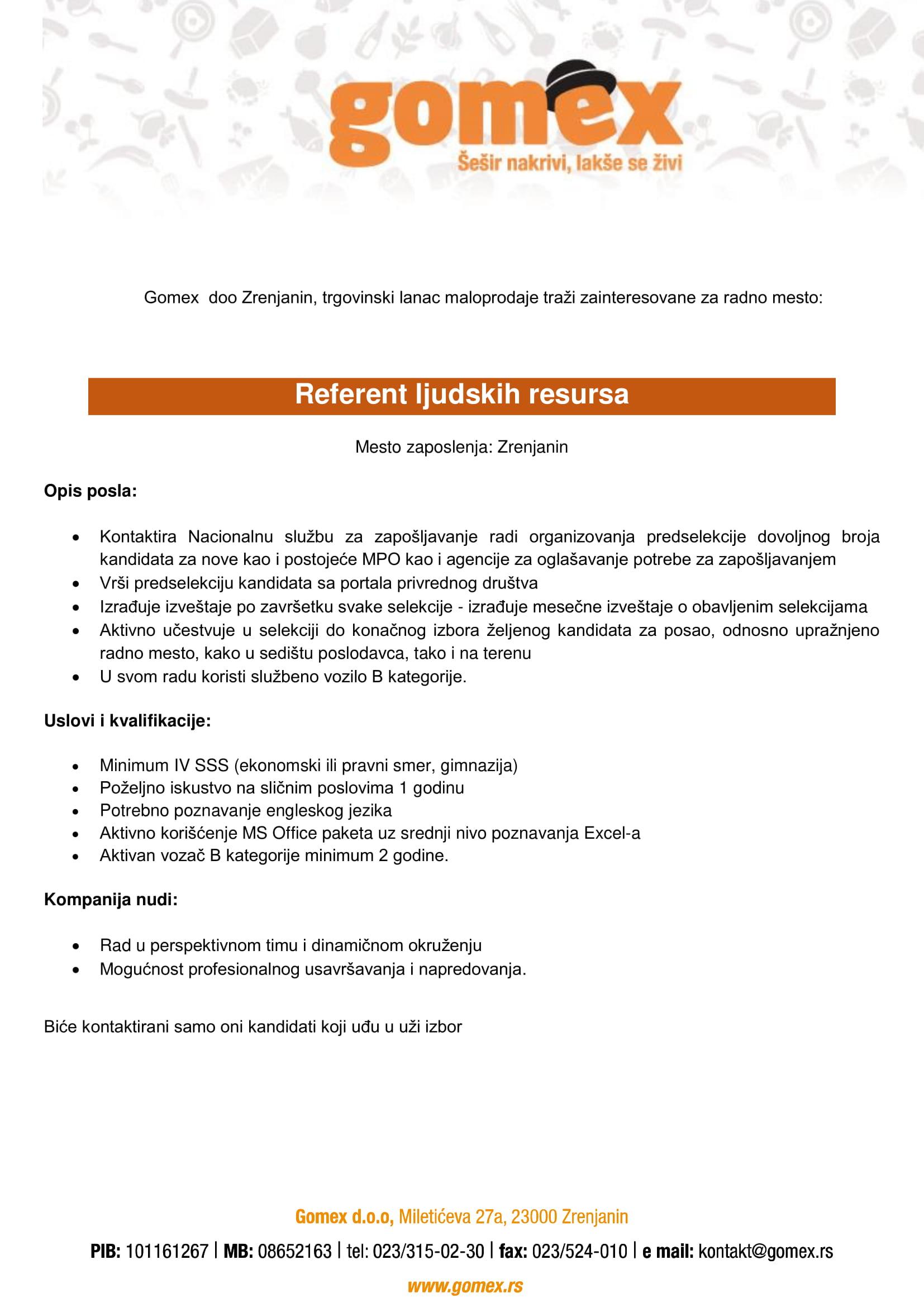 Referent ljudskih resursa (m/ž)
